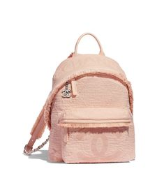 Discover the CHANEL Mixed Fibers, Goatskin, Silver-Tone Metal Light Pink Backpack, and explore the artistry and craftsmanship of the House of CHANEL.