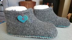 Cosy hand felted slippers made by Lise from Ambleside. Lise used two layers of Joe's Toes soles - one felt and one suede and decorated these beautiful slipper with  little felt hearts.