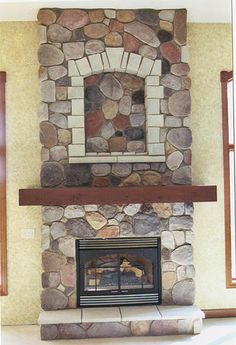 Interior Fireplace with hearth, cove, and wrap around wood mantle. Michigan Handsplit J&N Stone