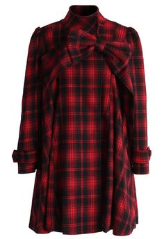 Red Tartan Dolly Dress with Big Bow - Retro, Indie and Unique Fashion