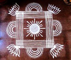 Pongal mavu kolam 2016 Rangoli Patterns, Rangoli Ideas, Rangoli Designs Diwali, Diwali Rangoli, Traditional Rangoli, Padi Kolam, Latest Rangoli, Indian Rangoli, Flower Rangoli