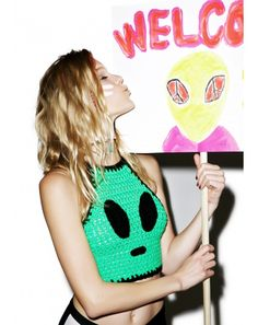 Alien Invader Crochet Crop Top   Dolls Kill