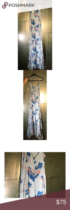 Free People Floral Maxi - Wear out or to bed! Free People Intimates • M • Pale Blue + Blues + Pink • Worn once on a TV set. Hangs well on the body - pair with a leather jacket and tall boots or 70s shoes. Or wear to bed! Perfect vacay piece cause you can wear to sleep for half the trip, then rock it out for the rest. ALSO AVAIL IN PALE PINK / CORAL - SEE SEP POST 💛•••Ask all Qs beforehand - I'm here for you! - no returns, sorry💛••• Free People Dresses Maxi