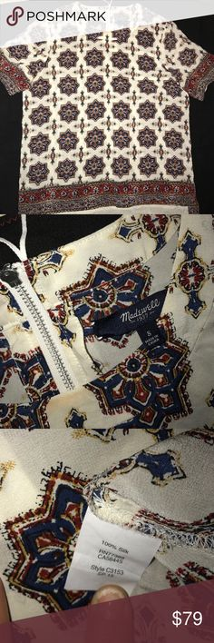 EUC MADEWELL💯%SILK AZTEC PRINTED BOHO GYSPY TOP S EUC MADWELL®💯%SILK AZTEC PRINTED BOHO GYSPY TOP S•No Flaws to My Knowledge•EXCELLENT CONDITIONS•I've just Never Worn•Needs NEW FUN HIP HOME• plz Note THZ top is 💯%Printed Silk•Dry Clean ONLY•PLZZ ask ANY QUESTIONS AND SEE PIX FOR REFERENCES•BE Blessed. 😘 XOXO colors: Cream Winter White-Rust/Burgundy-Royal Blue-Mustard/Canary Yellow•Silver Zip Up In Back of Crew Neckline w/White Leather Cord Madewell Tops Tees - Short Sleeve