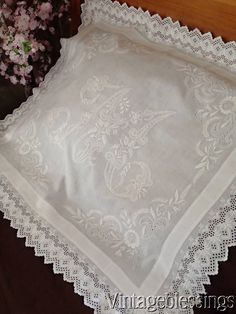 Luscious! Antique Monogram M French Lace PILLOW COVER or TABLECLOTH  Vintageblessings