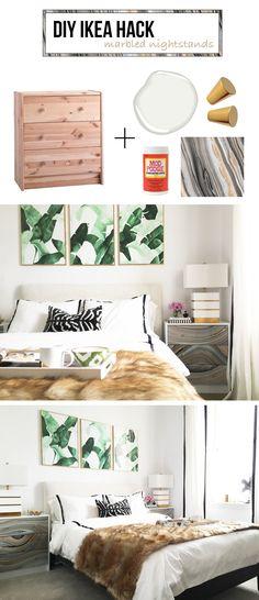 DIY IKEA HACK - marbled nightstands