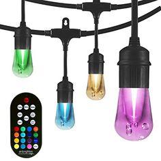 Color Changing String Lights Adjustable 48FT RGB LED Outdoor String Lights