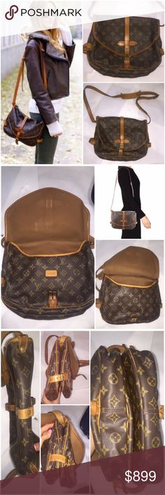 """Authentic Louis Vuitton Monogram Saumur 30 Brown and tan monogram coated canvas Louis Vuitton Saumur 30 w/ brass hardware, tan vachetta leather trim, flat adjustable shoulder strap, brown canvas lining, single pocket at interior wall & buckle closures at front & rear.  Condition: Good. Minor darkening at leather; faint surface scratches at hardware and minor wear at interior lining. The buckles show the most wear. The interior is gorgeous in my opinion Measurements: Shoulder Drop 19"""", Height…"""