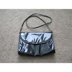 Vintage Black Patent Faux Leather Medium Envelope Shoulder Bag Clutch