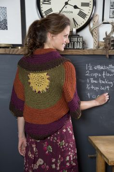 Rich, earthy tones in Heartland yarn look stunning in this Sunset Shrug: free Lion Brand pattern