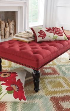 Chesterfield Tufted Ottoman. I love this cranberry color!! Totally gors!!!