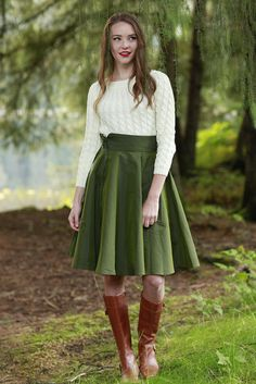 Celeste Skirt Green by Shabby Apple Beautiful Outfits, Cool Outfits, Spring Fashion, Winter Fashion, Shabby Apple, Cream Sweater, My Wardrobe, Wardrobe Ideas, Dress Skirt