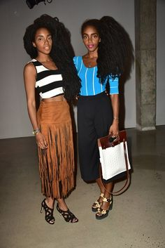 TK and Cipriana Quann wear a striped crop top, fringe midi skirt, and strappy sandals, left. Right, a blue and white striped t-shirt is paired with culottes, platform sandals, and a mixed texture bag