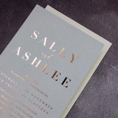 Love the simplicity of the suite we created for Sally and Ashlee late last year ✨ Foil Wedding Invitations, Sally