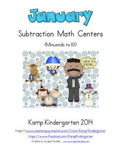 January Subtraction Math Centers (Minuends to Teaching Activities, Teaching Math, Teaching Resources, Maths, Activity Centers, Math Centers, Teaching Subtraction, Math Skills, Math Lessons