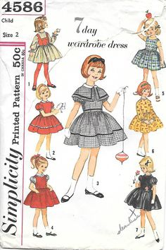 Simplicity 4586-1960s Childs Dress 7 Day Wardrobe Dress Vintage Sewing Pattern, by GrandmaMadeWithLove
