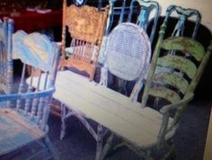 Recycle old chairs into a one of a kind bench.