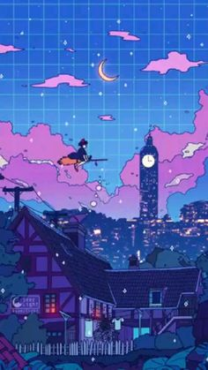 Animes Wallpapers, Cute Wallpapers, Aesthetic Iphone Wallpaper, Aesthetic Wallpapers, Aesthetic Art, Aesthetic Anime, Vaporwave Wallpaper, Studio Ghibli Art, Japon Illustration