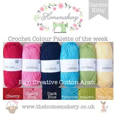 This weeks Pam Kitty Garden inspired Crochet Colour Palette uses bright yarn from Rico Creative Cotton Aran, a super value cotton yarn. Yarn Color Combinations, Colour Schemes, Colour Palettes, Thread Crochet, Crochet Yarn, Mochila Crochet, Color Me Beautiful, Coordinating Colors, Copics