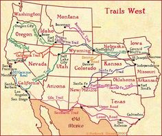 Trails West, a map of early western migration trails. TNGenNet Inc. TNGenWeb, Letters From Forgotten Ancestors Genealogy Research, Family Genealogy, Genealogy Sites, Mountain Man, World History, Family History, Church History, Westward Expansion, Westerns