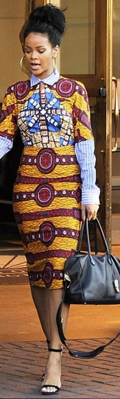 Rihanna: Dress – Stella Jean Shoes – Manolo Blanhik Purse – Balmain