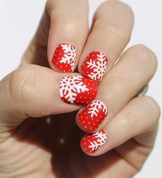 Enveloppes d'ongle rouge flocon de neige par SoGloss sur Etsy