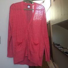 J.Crew Linen Sweater worn once. Beautiful coral color. Medium, could fit a large. Great with leggings. EUC. Gold button. 100% linen in a cable knit pattern J. Crew Sweaters Cardigans