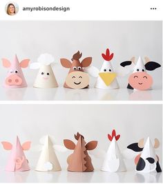 All designs in the Karen Boudreau.inc store are off today! Head over and gra… All designs in the Karen Boudreau.inc store are off today! Head over and grab these animal party hats from our farm party and more. Farm Animal Crafts, Farm Animal Party, Farm Animal Birthday, Animal Crafts For Kids, Farm Birthday, Farm Party, Toddler Crafts, Preschool Crafts, Diy For Kids