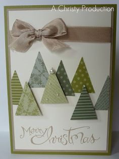 This Christmas card is so easy! The tree forest is a great use of scraps for the pennant punch.
