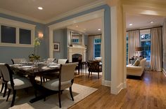 Beautiful blue living room dining room