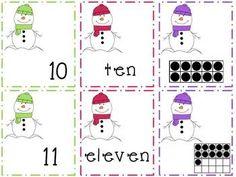 Snowman Math Matching Game (0-20). $ kindergartenklub-com