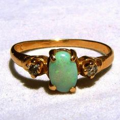 """14k Gold Vintage Opal Ring with Diamond Accents, Size 6 1/2.  A pretty vintage Opal ring for sale at the """"Vintage Jewelry Stars"""" shop at http://www.rubylane.com/shop/vintagejewelrystars!!"""