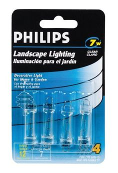Philips Landscape Lighting 7-Watt 12-Volt Fuse Base 4 Pack by Philips. $2.99. From the Manufacturer                Decorative light for home and garden                                    Product Description                Philips 7-Watt T3 Landscape Lighting light bulb is ideal for accenting and highlighting your landscaping and outdoor décor. This bulb is for use with 12V fixtures.  Light for all of your specialized fixtures. Philips Specialty Incandescent and halogen bulbs pr...