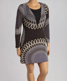 Look at this #zulilyfind! Black & Gray Geo Zip Sweater Dress - Plus #zulilyfinds