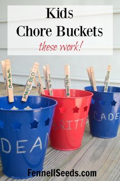 These are great for my kids to visually see what chores they need to complete for the day. They love to complete the chore and hear the satisfying plop when they drop the clothes pin into the bucket. These chore buckets have really worked in our house.