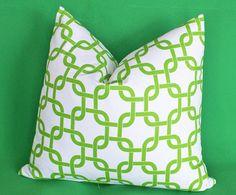Trellis Decorative Pillows Lime Green on White by PillowThrowDecor,
