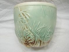 Vintage McCoy Pinecone LG Art Pottery Planter Vase Bowl Pine Cone | eBay Mccoy Pottery Vases, Antique Pottery, Roseville Pottery, Ceramic Pottery, Pine Cone Decorations, Pottery Marks, Ceramic Sink, Vintage Planters, Shawnee