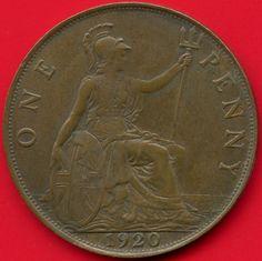 Excellent Vintage Coin 1913 GREAT BRITAIN PENNY Britain Bin #5