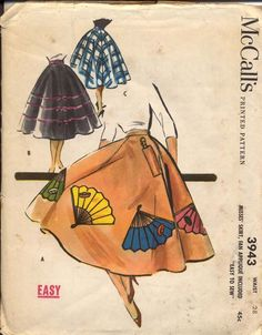 McCalls 3943 Misses 1950s Circle Skirt Pattern Fan Applique and Pocket for Fan Poodle Skirt Womens Vintage Sewing Pattern Waist 26 UNCUT. $18.00, via Etsy.