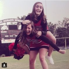 Picture day is always fun. I caught Ky a little off guard. #bestfriend #cheerleading #uniforms #sillyphoto