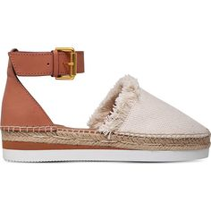 See By Chloe Glyn canvas and leather espadrilles (205 CAD) ❤ liked on Polyvore featuring shoes, sandals, espadrille sandals, leather sandals, ankle tie espadrilles, summer shoes and summer sandals