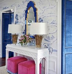 [New] The 10 Best Home Decor Today (with Pictures) - Gracious Foyer featuring this marvelous vintage lacquered console table! The Interior designer and homeowner adds a pop of color by picking this hot pink shade for the stools! Interior Wallpaper, Home Wallpaper, Colorful Decor, Colorful Interiors, Furniture Makeover, Furniture Decor, Foyer Decorating, Furniture Restoration, Interior Styling