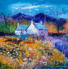 John Lowrie Morrison OBE - Evening Gloaming Ben More Isle of Mull Landscape Art, Landscape Paintings, Landscapes, Irish Landscape, Colorful Paintings, Nature Paintings, Acrylic Painting For Beginners, Modern Impressionism, Cottage Art