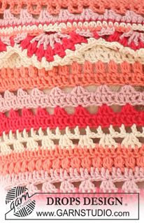 """Summer Sorbet - Crochet DROPS hat and top with stripes and lace borders in """"Safran"""". - Free pattern by DROPS Design Crochet Motifs, Crochet Blanket Patterns, Crochet Stitches, Stitch Patterns, Knitting Patterns, Afghan Patterns, Crochet Afghans, Crochet Blankets, Baby Blankets"""