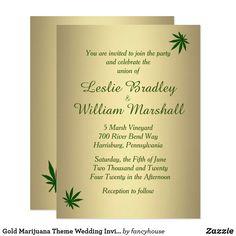 Gold Marijuana Theme Wedding Invitation