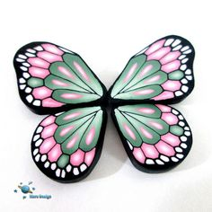 Butterfly ~ by Marsha Mars Design Cane Fimo, Polymer Clay Canes, Fimo Clay, Polymer Clay Projects, Polymer Clay Creations, Polymer Clay Jewelry, Clay Crafts, Butterfly Crafts, Butterfly Wings