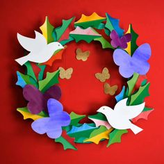 Peace & Love DIY Paper Wreath - A DIY peace and love paper wreath. Use watercolor washes on our free templates to create this lovely handmade holiday keepsake. Peace Crafts, Diy For Kids, Crafts For Kids, Origami Shapes, Peace Dove, Thinking Day, Holly Leaf, Glue Crafts, Kirigami