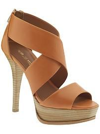 """Tifara"" cinnamon leather strap platform sandals by Pour La Victoire."