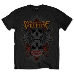 Tricou Bullet For My Valentine: Winged Skull - MetalHead Merch Bullet For My Valentine, Wings, Skull, Short Sleeves, Metalhead, Mens Tops, Cotton, Colour Black, Shirts