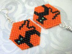 Peyote Earrings Black Cat for Halloween Beaded by MadeByKatarina